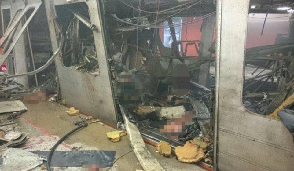 Explosion:The image above is being used by the Belgian media who claim this is the damage caused by the bomb at the Maelbeek Metro station in central Brussels yesterday. It has not been verified by the authorities but is being widely circulated on social media.