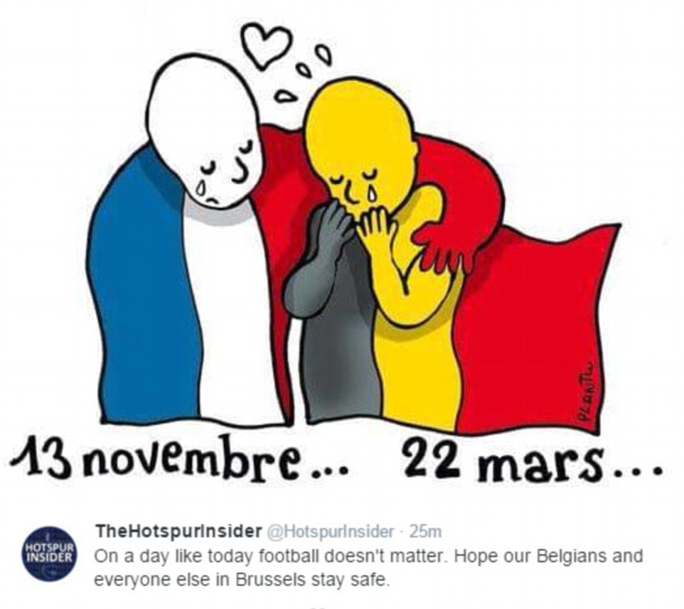 The hashtag #PrayForBelgium was trending online, while other social media users posted images like the one above showing solidarity