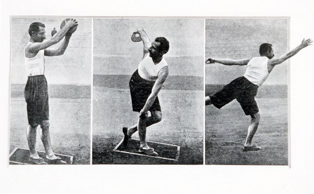 Google doodle: History of the Olympic games and how Britain made it global. 1896 Olympic Games, Athens, Greece, Throwing the Discus, P, Paraskevopoulos of Greece who won the silver medal with a throw of 28,95 metres (Photo by Popperfoto/Getty Images)
