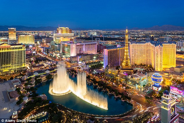 Dream trip: The couple had booked flights to Las Vegas (pictured) but had to make do with Amsterdam