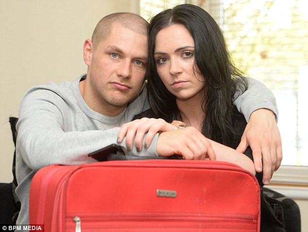 Disgruntled: Ben Marlow and Richella Heekin, from Sutton Coldfield in Birmingham, were unable to jet off on their dream holiday booked to Las Vegas - as their flight was from Birmingham in the United States