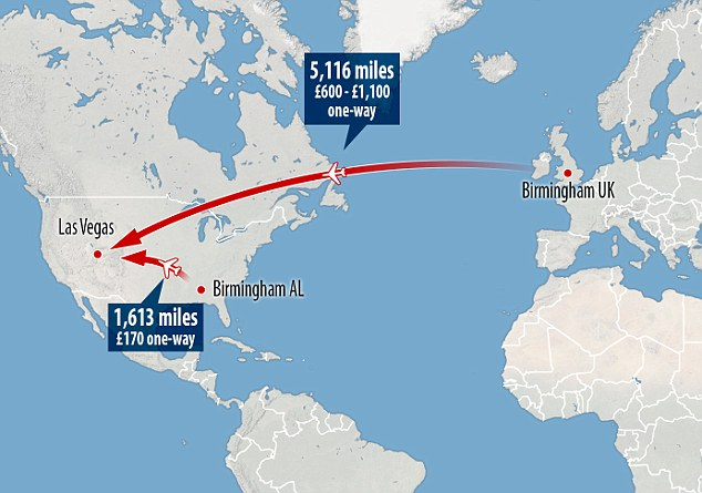 Contrast: This graphic shows the varying distances to Las Vegas from Birmingham in the US and the UK