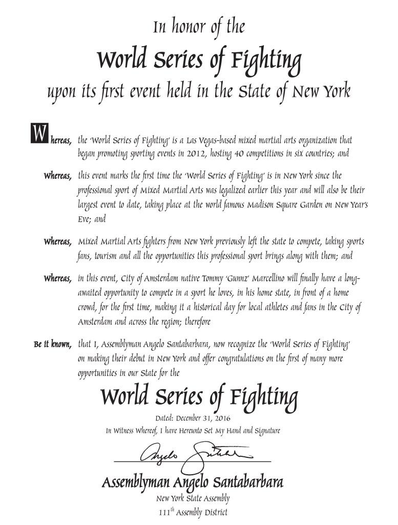 Office of New York State Assemblyman Angelo Santabarbara proclamation to WSOF MMA