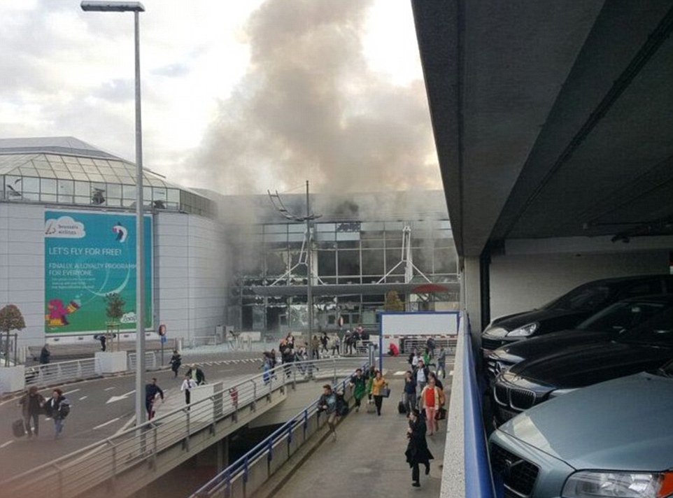 Shouts in Arabic were reportedly heard before the explosions which sent shockwaves through the terminal building, shattering windows