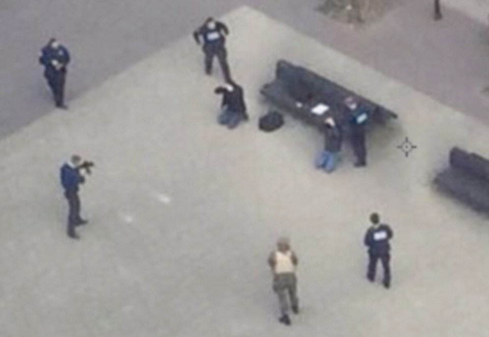 Two suspects were arrested a mile from the Maelbeek metro station at around 11am as hundreds of troops and police flooded the streets