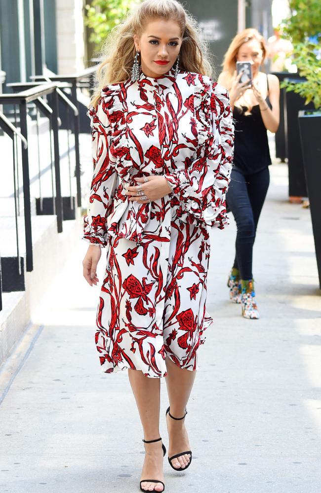 Rita Ora getting into Folklore mood: wearing Australian designer Ellery in New York. Photo by Josiah Kamau/BuzzFoto via Getty Images