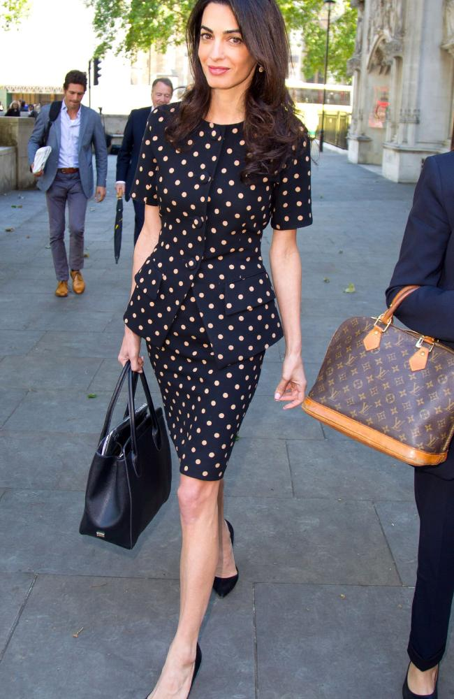 Spotted: Amal Clooney in legal team work mode: Picture by: Rex Features/Splash News