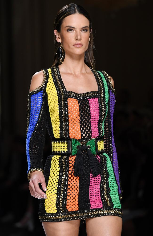 Crochet: go on, get grandma on it ... Alessandra Ambrosio walked the runway during the Balmain Menswear Spring/Summer 2017. Photo by Pascal Le Segretain/Getty Images