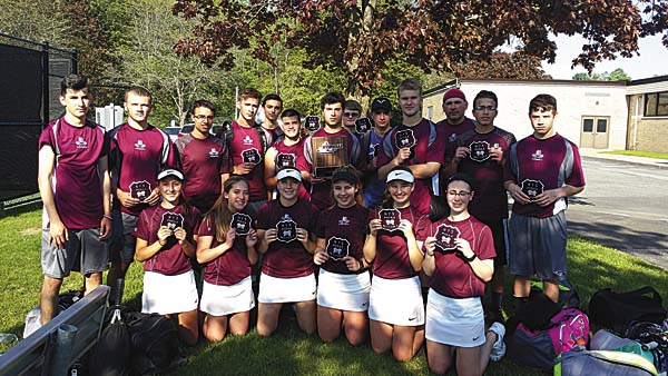 The Gloversville tennis team poses with its sectional runner-up plaque and patches after losing 6-1 to Burnt Hills-Ballston Lake in the Section II Class A championship match Wednesday at Ballston Spa High School. (Photo submitted)