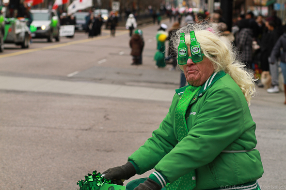 A man rides past during the St. Patrick's Day Parade in Toronto on March 13, 2011. Courtesy of Gadjo Cardenas Sevilla.