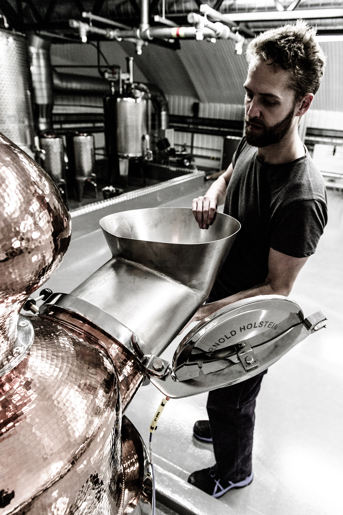 Above and top: Distillery manager Matt Lovell at work at Our/London
