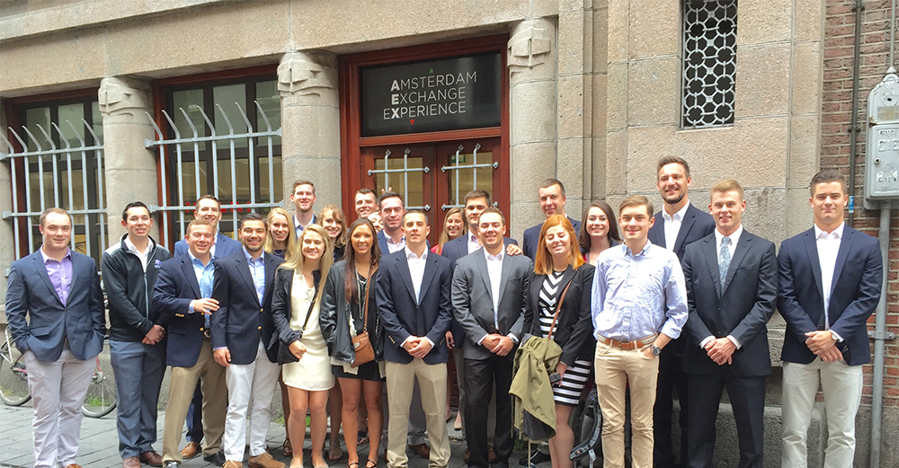 HPU students receive a tour of the Amsterdam Stock Exchange during their trip.