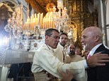 Warm welcome: Anotnio Banderas has returned to his home city of Malaga to mark the Catholic Holy Week celebrations