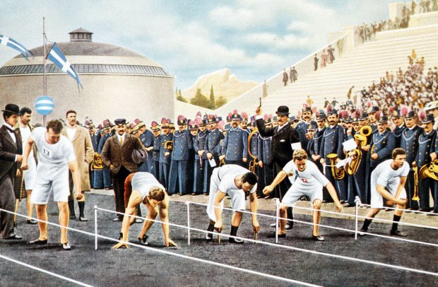 Google doodle: History of the Olympic games and how Britain made it global. 1896 Olympic Games, Athens, Greece, Mens 100 metres,The start of the race won by USA's Tom Burke (Photo by Popperfoto/Getty Images)