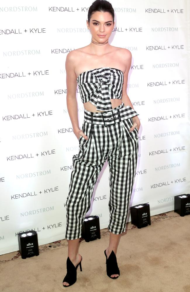 Checked: Kendall Jenner at private luncheon at Chateau Marmont Los Angeles, California. Picture: Frederick M. Brown/Getty Images